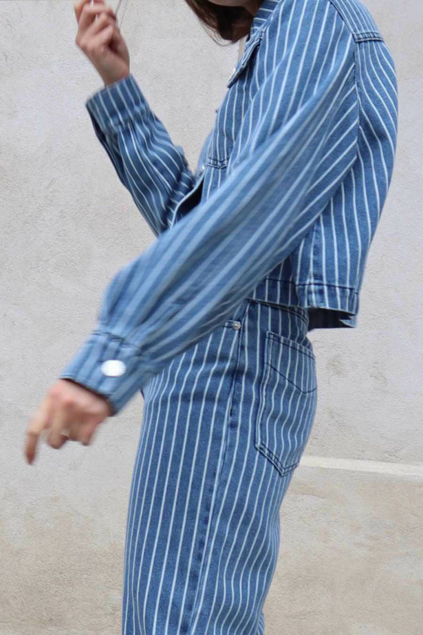 striped trousers and jacket