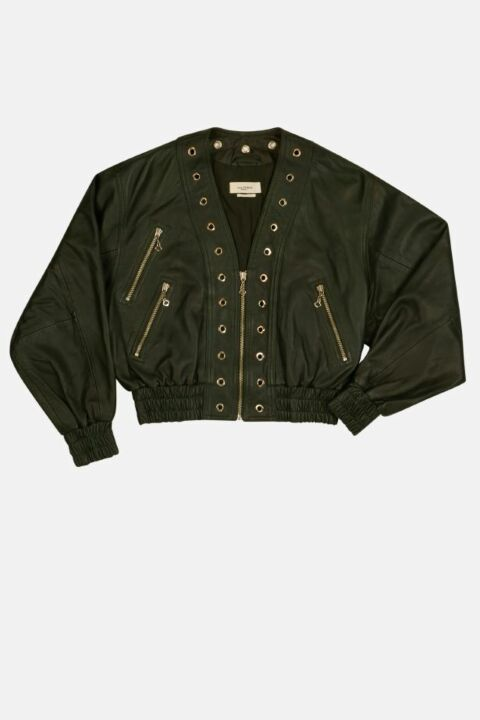 LEATHER JACKET WITH EYELETS