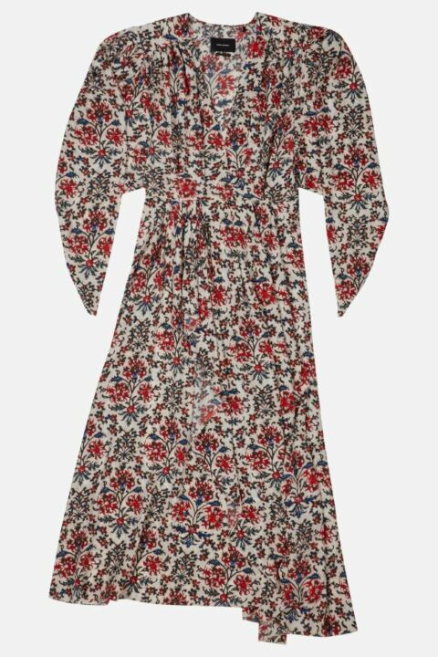 FLOWER PRINT SILK MIDI DRESS