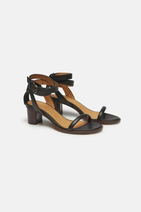 HEELED LEATHER STRAP SANDALS