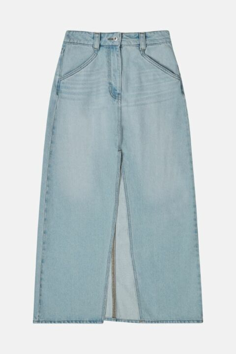 LONG DENIM SKIRT WITH SPLIT