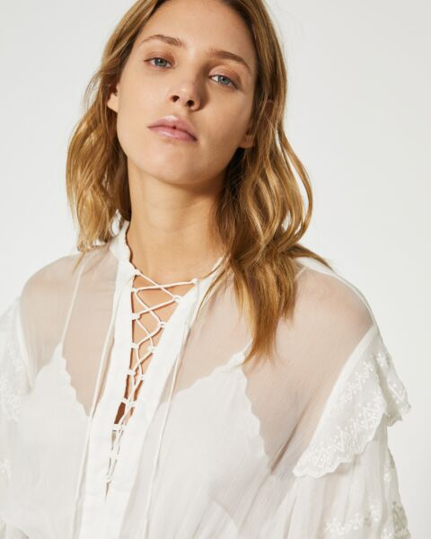 Romantic flounced silk top