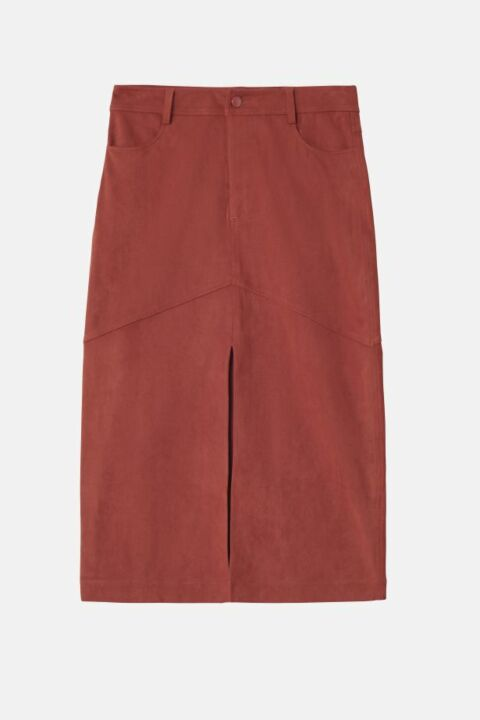 Suede skirt with split