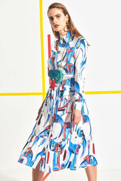Dress with abstract print