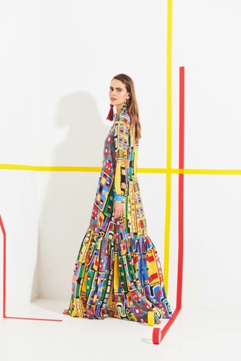 Maxi absctract printed dress