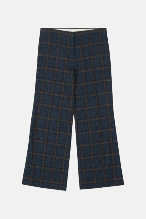 CHECKED COTTON BLEND TROUSERS
