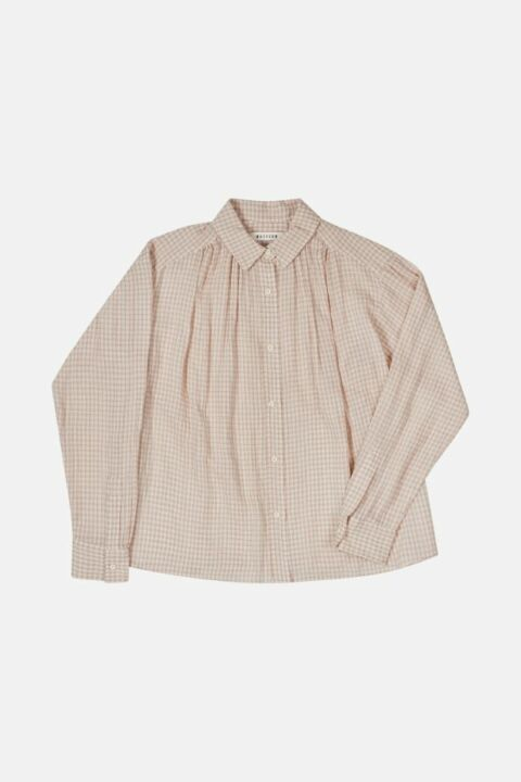CHECKED GATHERED COTTON SHIRT