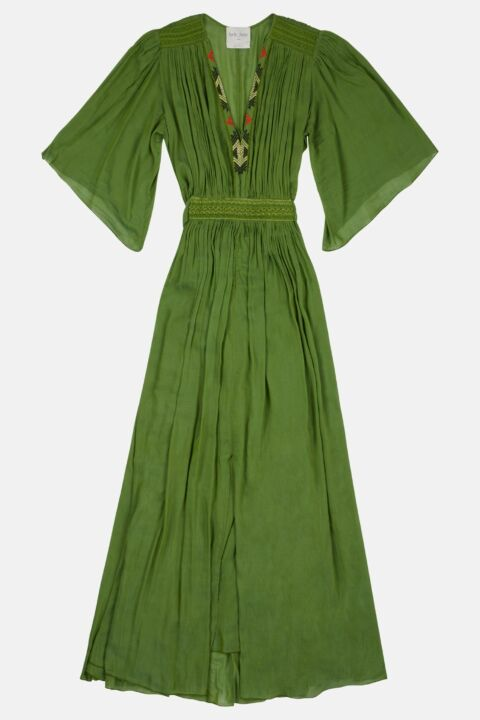 VOILE EMBROIDERED LONG DRESS