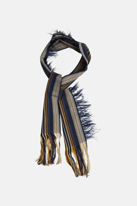 STRIPED STOLE WITH FEATHERS