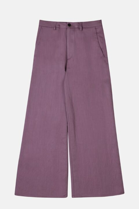 WASHED SATIN WIDE PANTS