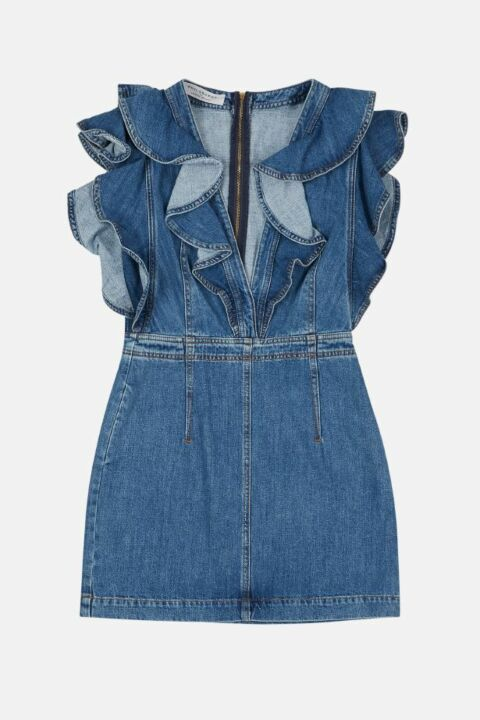 DENIM DRESS WITH FRILL DETAIL