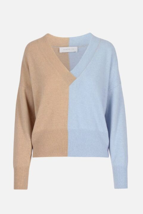 DUO COLOUR V-NECK PULLOVER