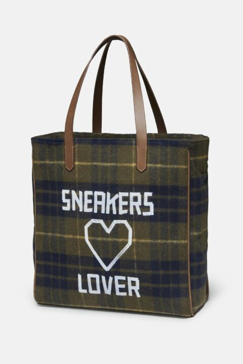Checked canvas tote bag
