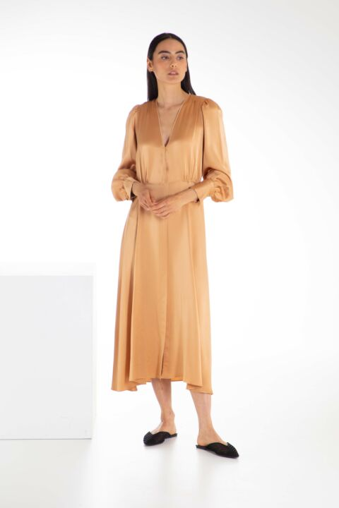 Silk camel blitser dress