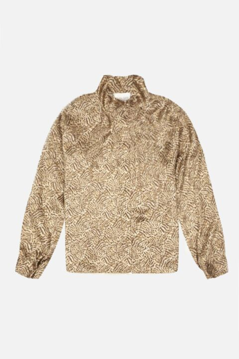 Gold animal silk blouse