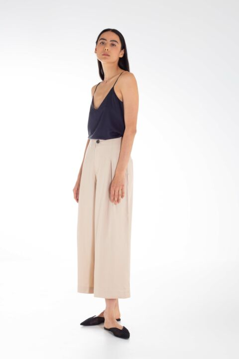 High waist camel pants