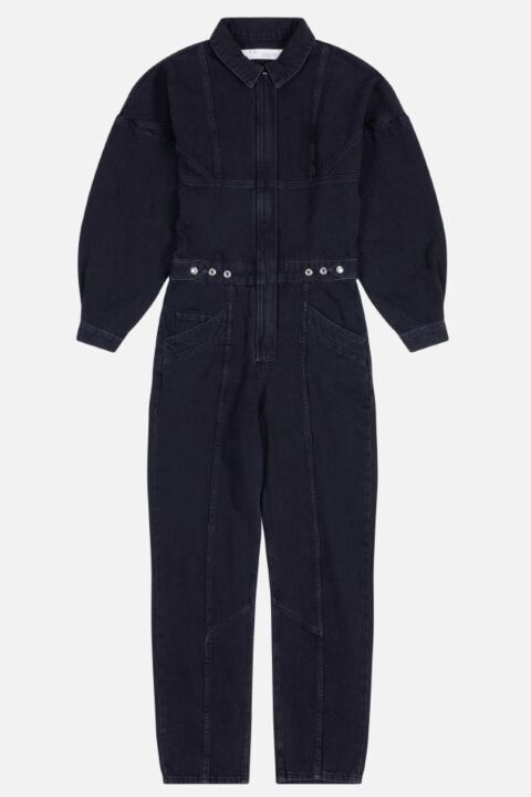 Dark grey denim jumpsuit