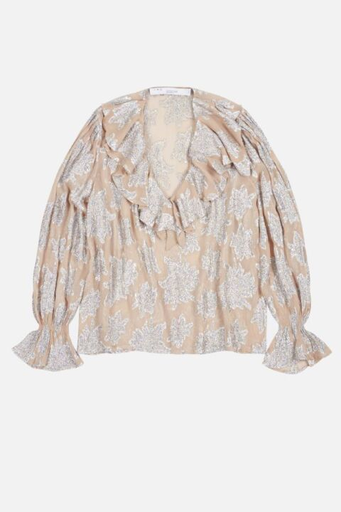 Silver colored print top