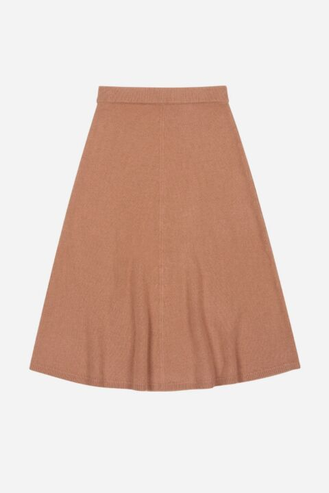 Midi knit skirt cognac