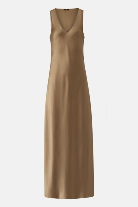 Taupe silk satin dress