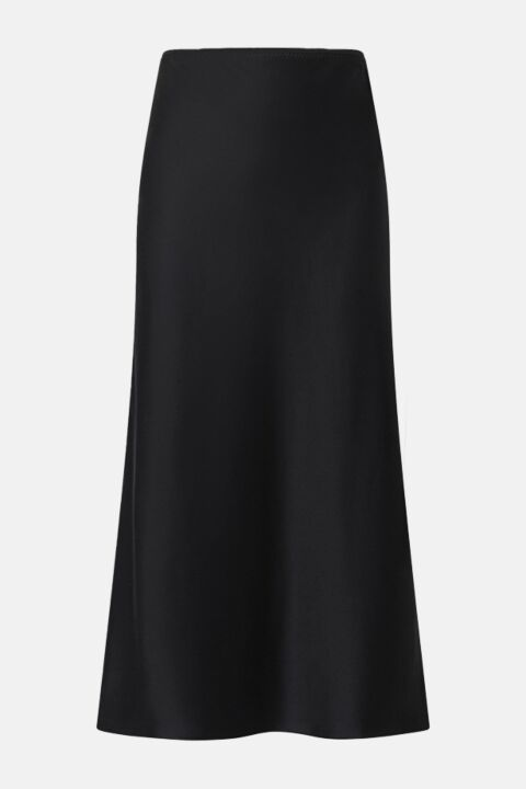 Black silk satin skirt
