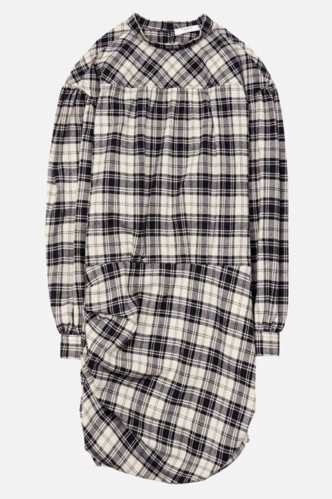 Black/ecru checked short dress
