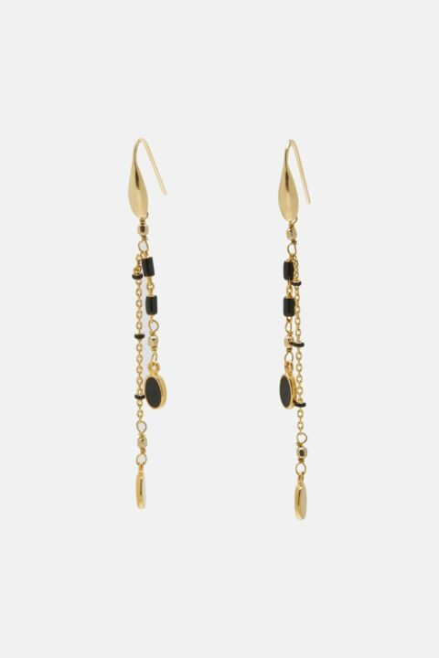 Gold earrings with black resin