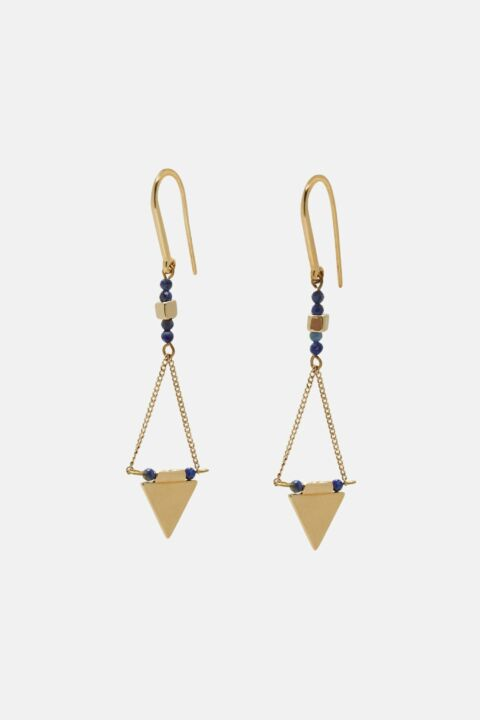 Gold earring with navy details