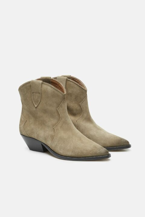 Taupe leather ankle boots