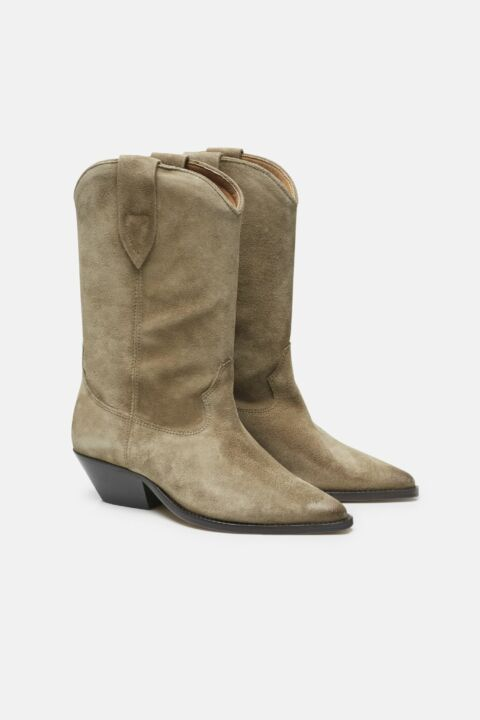 Leather beige boots
