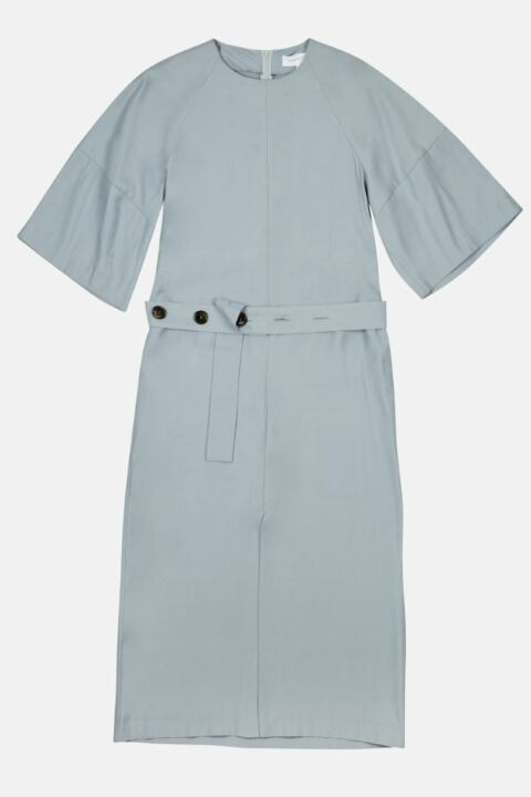 Midi dress with buttoned belt