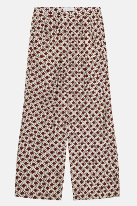 Mosaic bordeaux print trousers