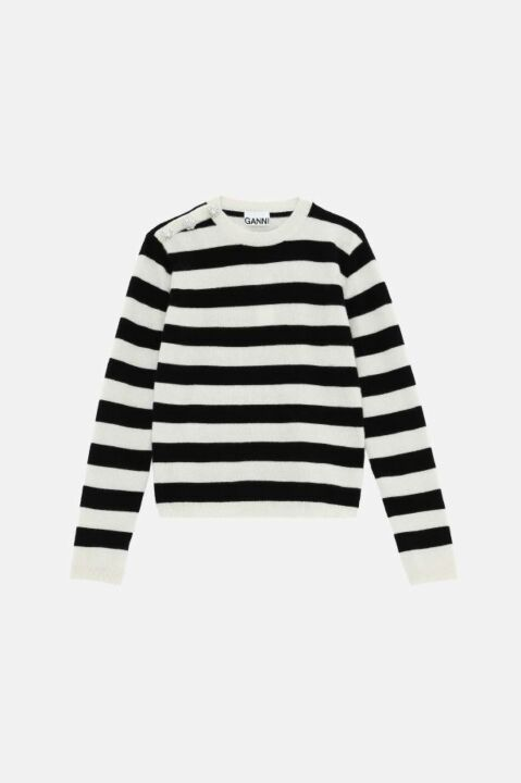 Striped black and ecru sweater