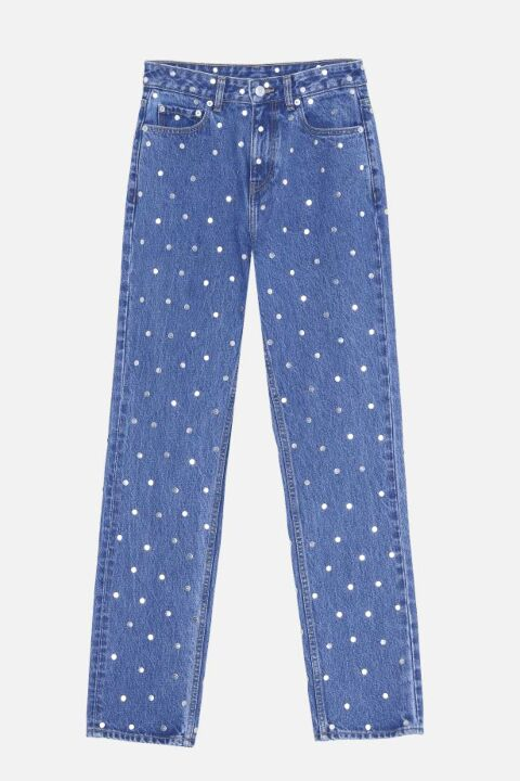 Blue jeans with dots