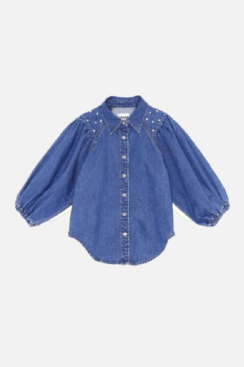 Balloon denim shirt