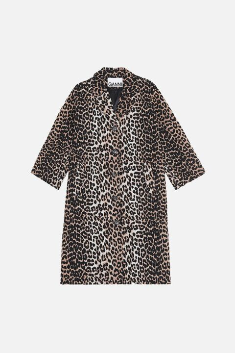 Long leopard coat