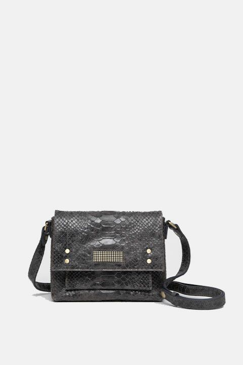 Grey python shoulder bag