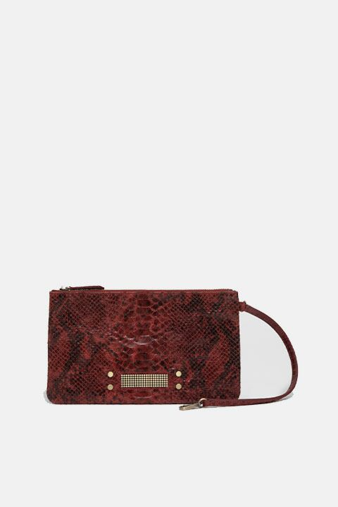 Mini red python pan bag