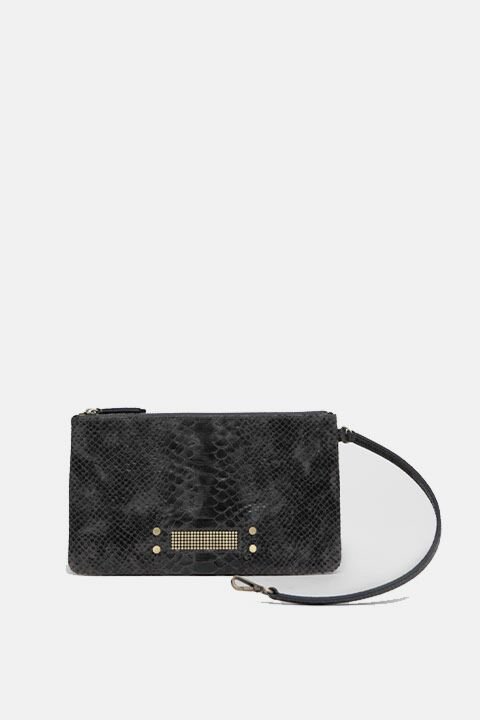 Mini dark grey python pan bag