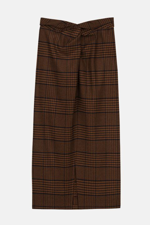 Checked knot skirt