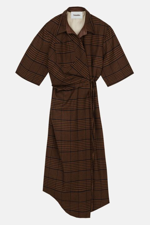 Brown checked drapped dress