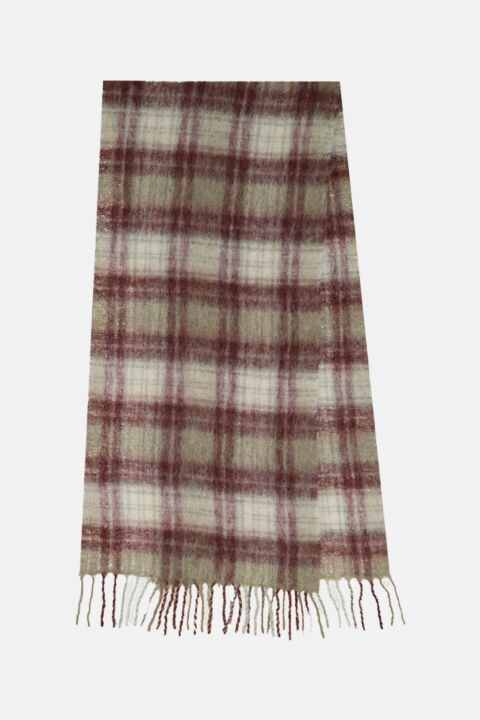 Beige/bordeaux checked scarf