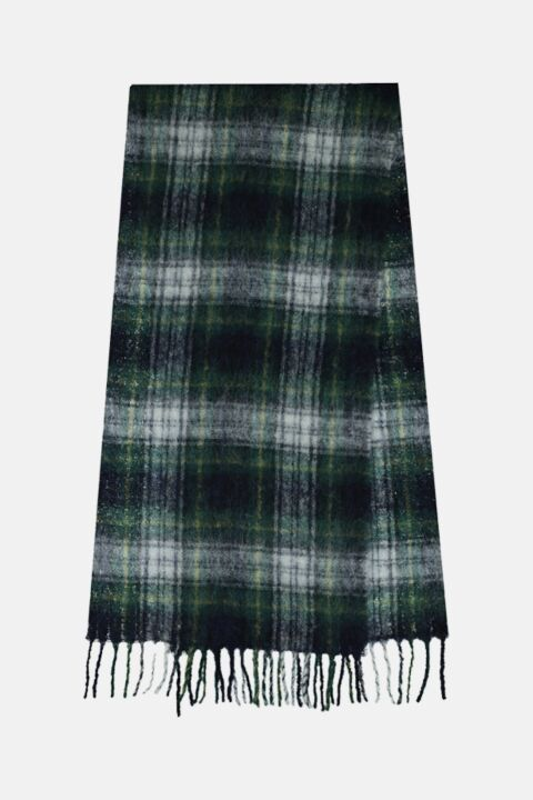 Dark green checked scarf