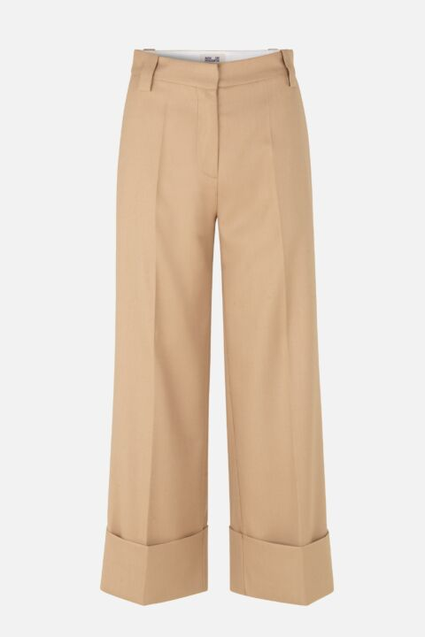 Camel wide-trousers