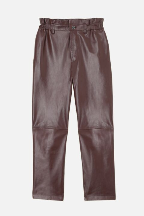 Burgundy leather trouser