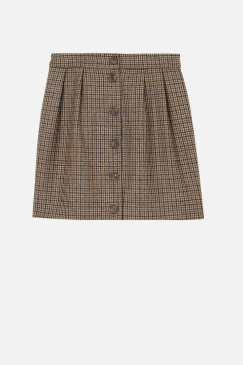 Checked beige mini skirt