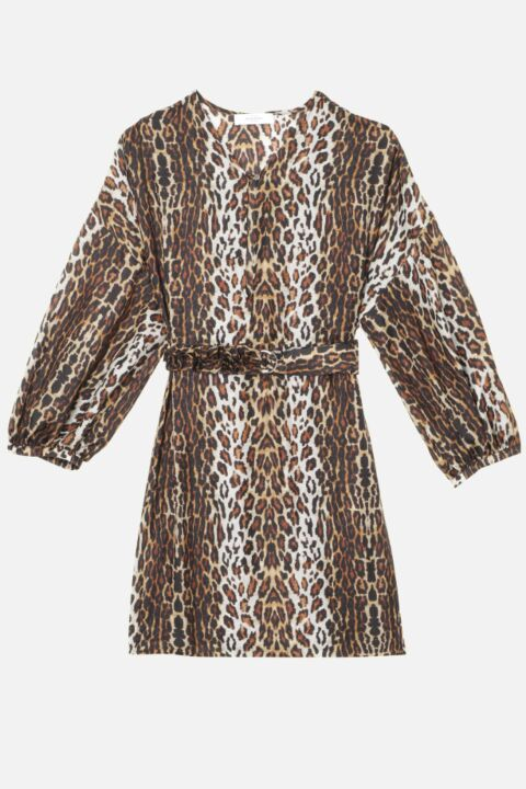 Mini brown leopard dress