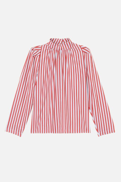 Red and white striped blouse