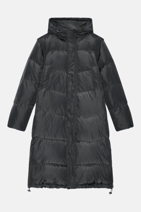 Long black puffer coat