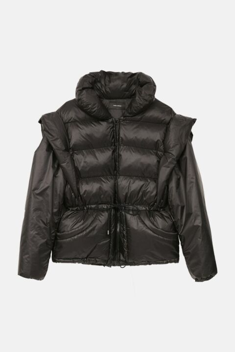 Puffer with removable sleeves